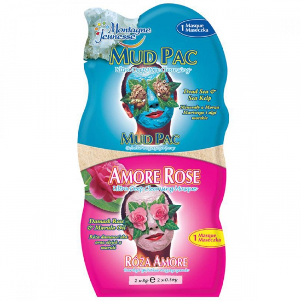 Montagne Jeunesse Duo-Gesichtsmaske - Mud Pac/Amore Rose