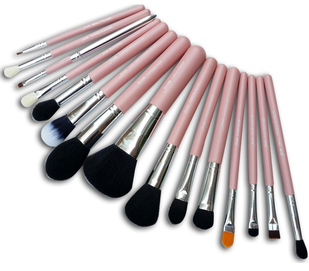 Jessup 15-teiliges Pinselset - Brushes Set Pink-Silver T094