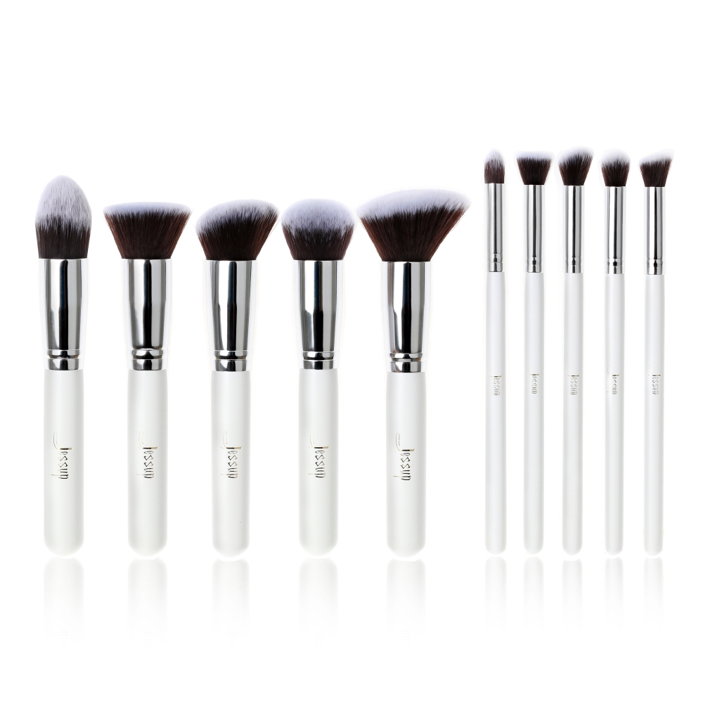 Jessup set di 10 pennelli - Kabuki Brushes Set White/Silver T075