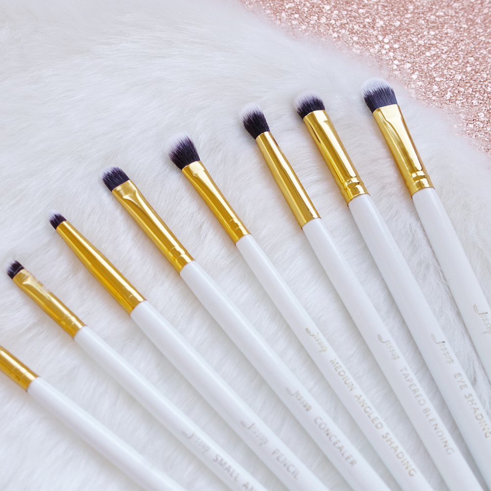 Jessup 8 Piece Eye Brushes Set ecsetkészlet - White/Gold T099