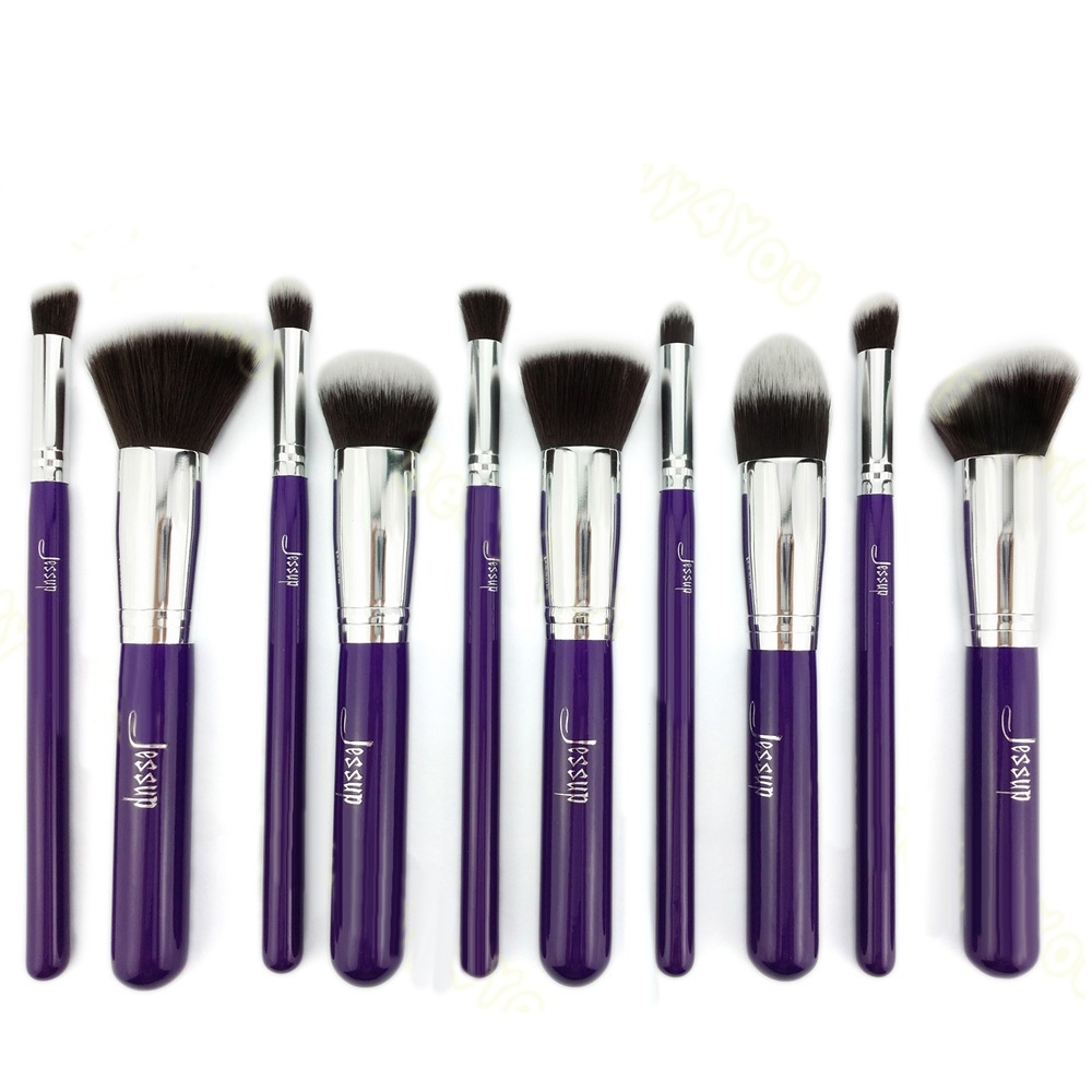 Jessup 10-delni set čopičev - Kabuki Brushes Set Purple/Silver T076