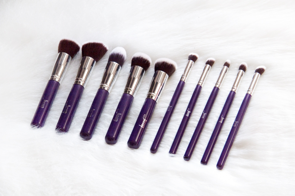Jessup set pinceaux (10pcs) - Kabuki Brushes Set Purple/Silver T076