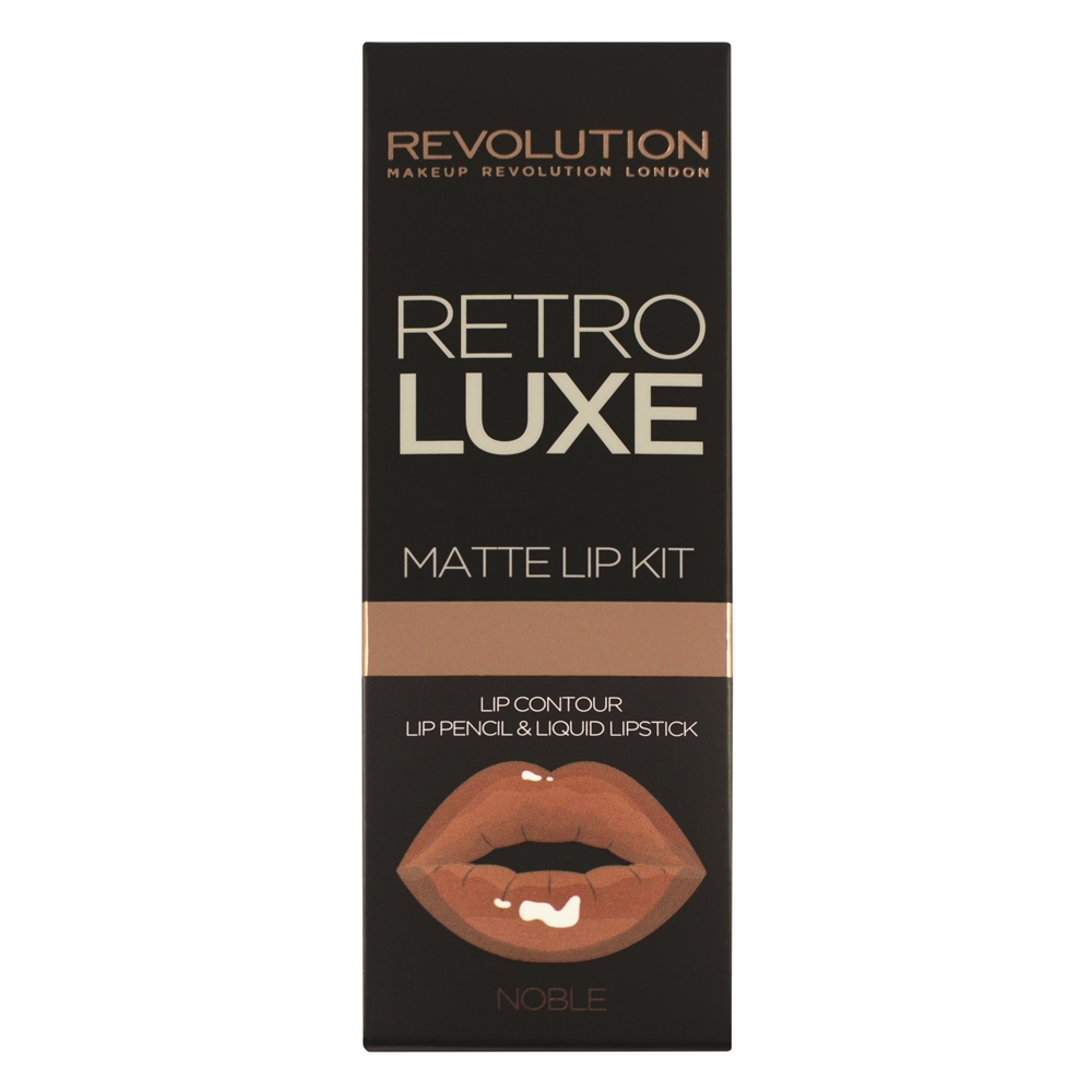 Makeup Revolution set tekućeg ruža i olovke - Retro Luxe Kits Matte - Noble