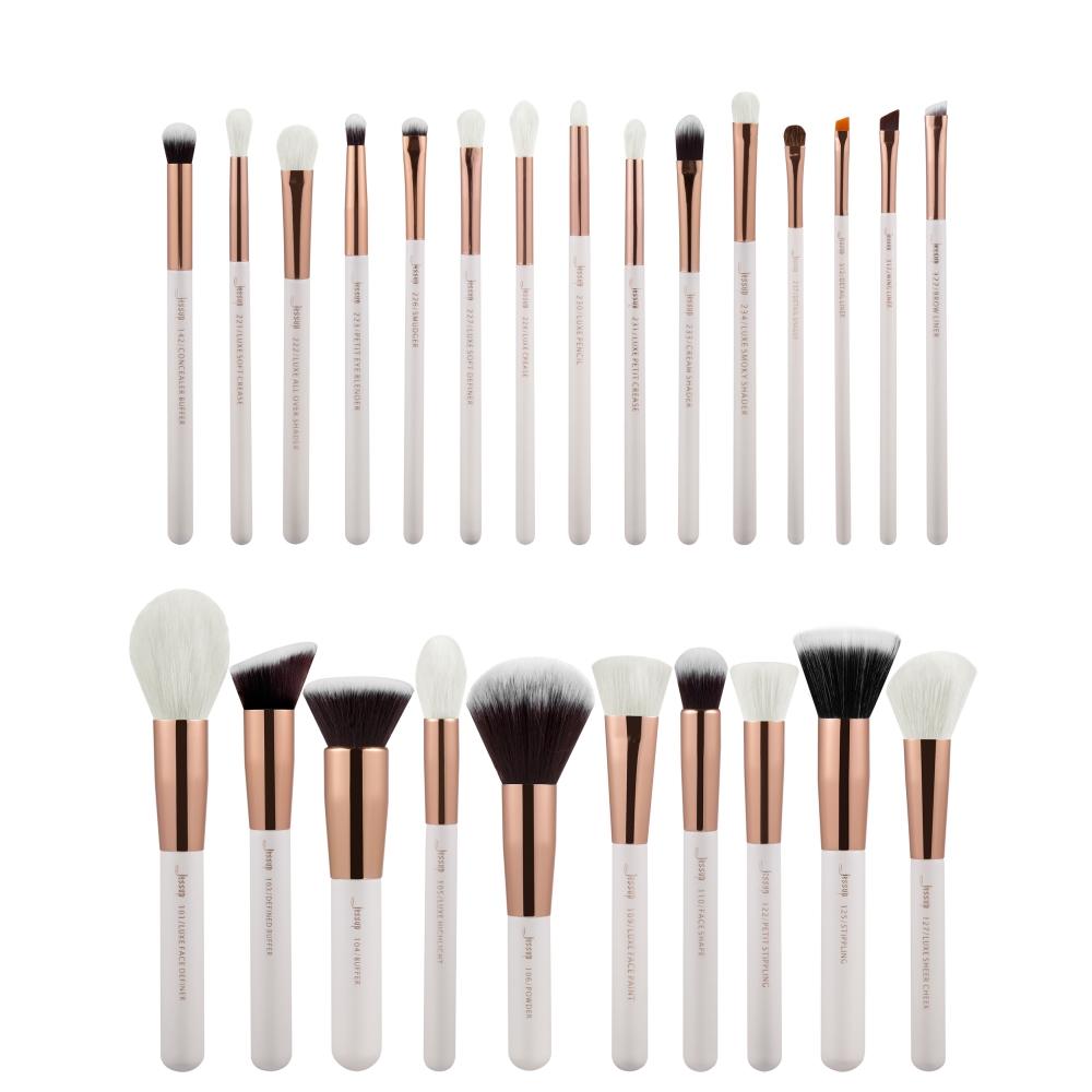 Jessup 25-delni set čopičev - Brushes Set White/Rose Gold T215