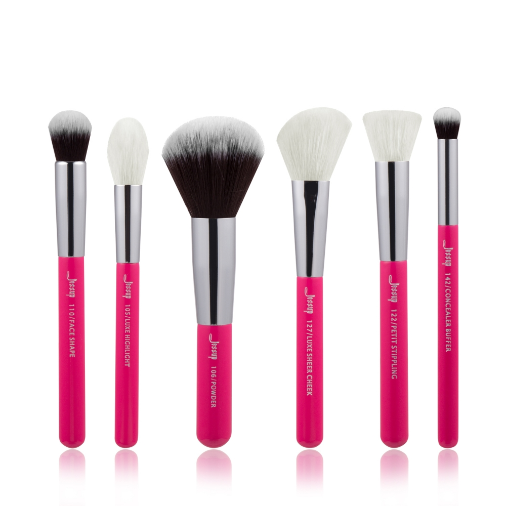 Jessup 6-delni set čopičev - Brushes Set Rose Carmin/Silver T204
