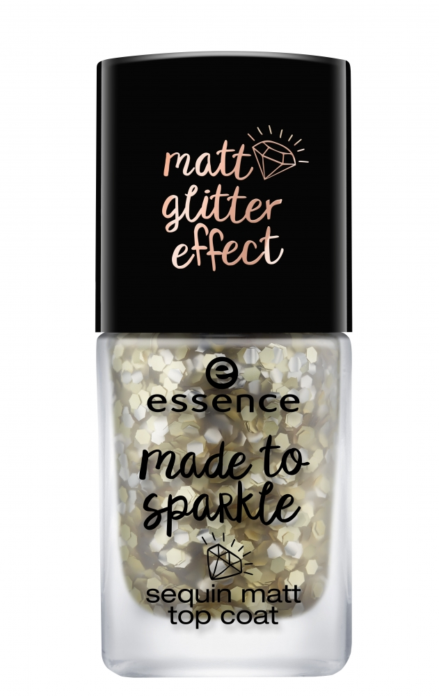 essence nadlak na nechty - Made To Sparkle Sequin Matt Top Coat - 01 Pour Some Glitter On Me!