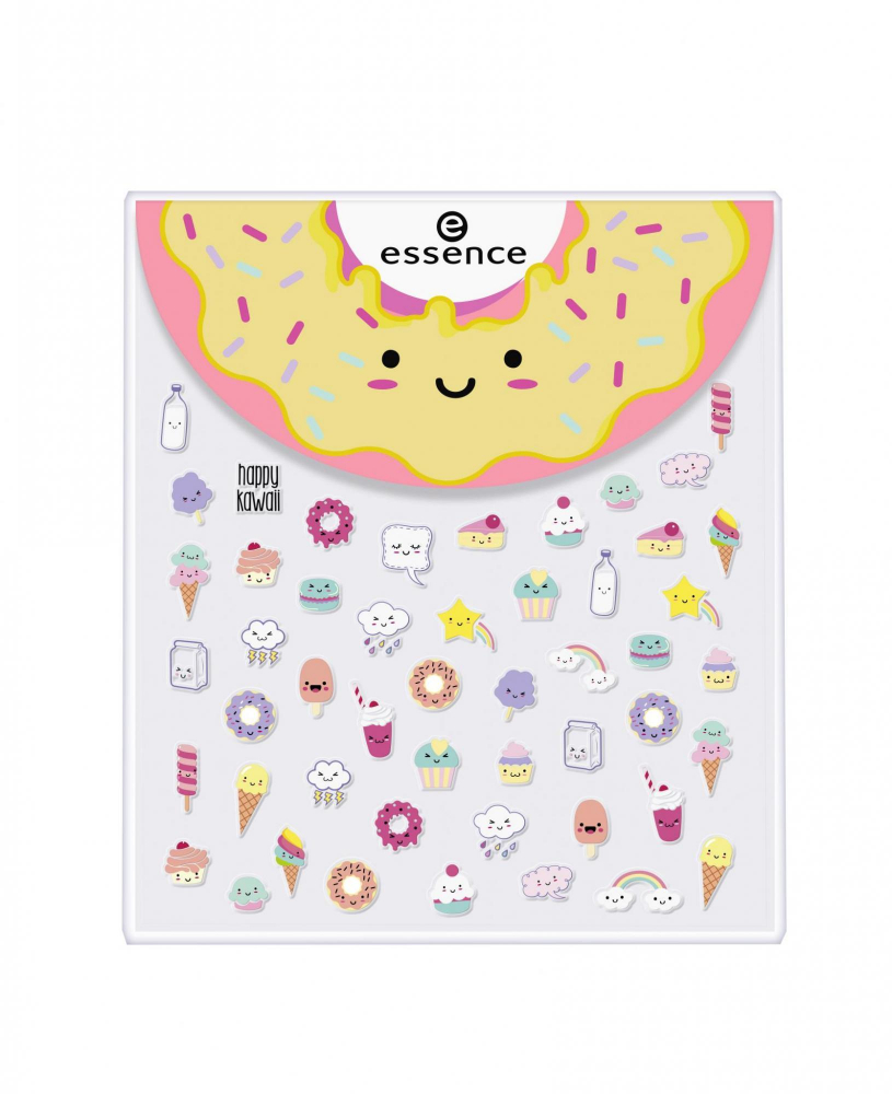 essence Happy Kawaii Face & Nail Stickers arc és körömmatricák - 01 Donut Worry! Be Happy!