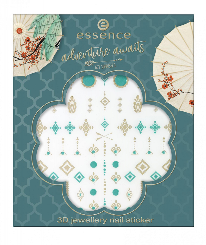 essence 3D стикери за нокти - Adventure Awaits - 3D Jewellery Nail Sticker - 01 Don't Stop To Explore!
