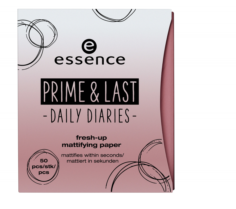 essence lističi za matiranje obraza - Prime & Last Daily Diaries Limited Edition - Fresh-Up Mattifying Papers - 01 Slay All Day