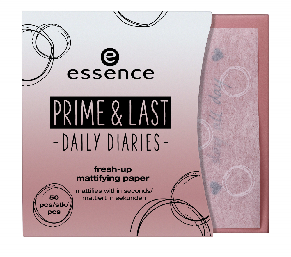 essence matující lístky na obličej - Prime & Last Daily Diaries Limited Edition - Fresh-Up Mattifying Papers - 01 Slay All Day