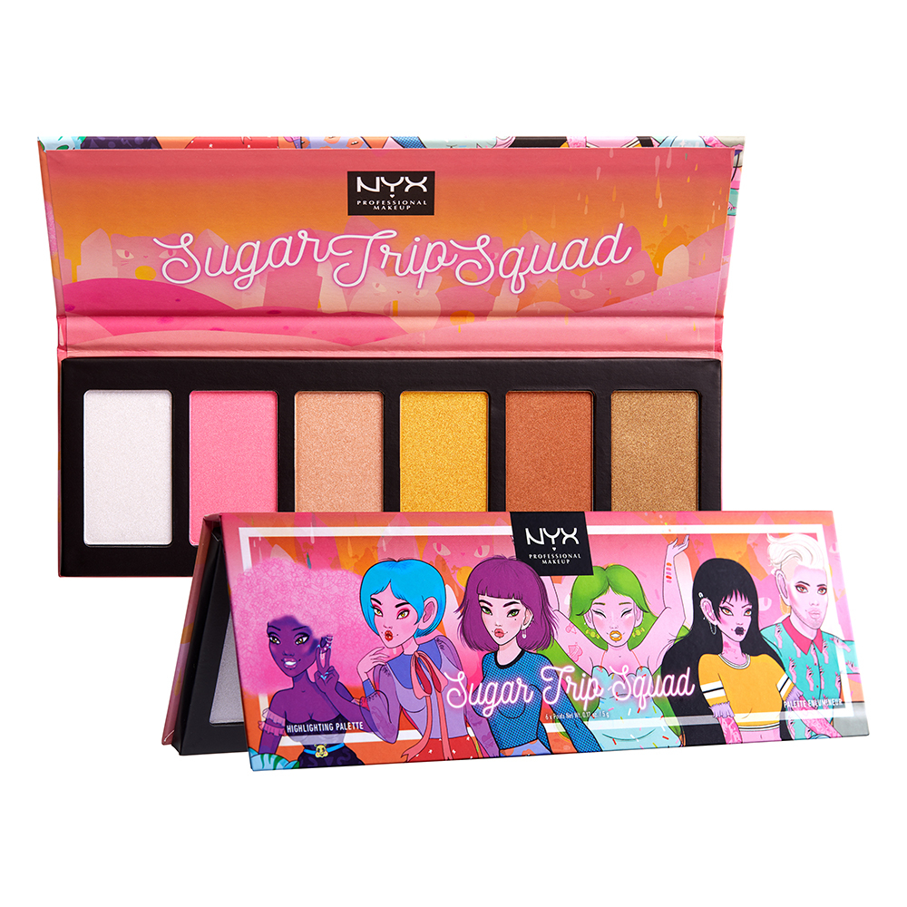 NYX Professional Makeup палитра с хайлайтъри - Sugar Trip - Squad Highlighter Palette Limited Edition