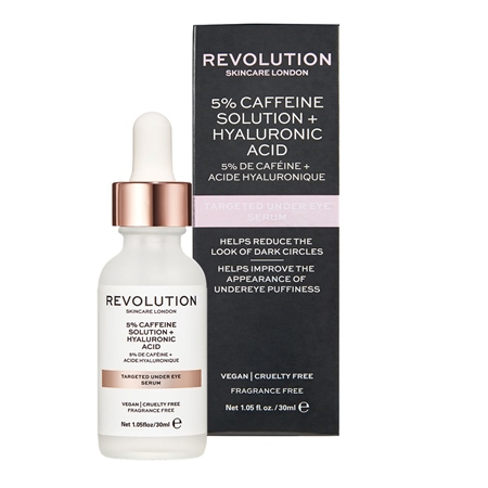 Revolution Skincare - očné sérum - Targeted Under Eye Serum - 5% Caffeine Solution + Hyaluronic Acid