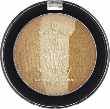 essence dvojni kompaktni highlighter - Sun. Sand.& Golden Rainbows. - Baked Multicolor Highlighter - 02 Chasing The Sun