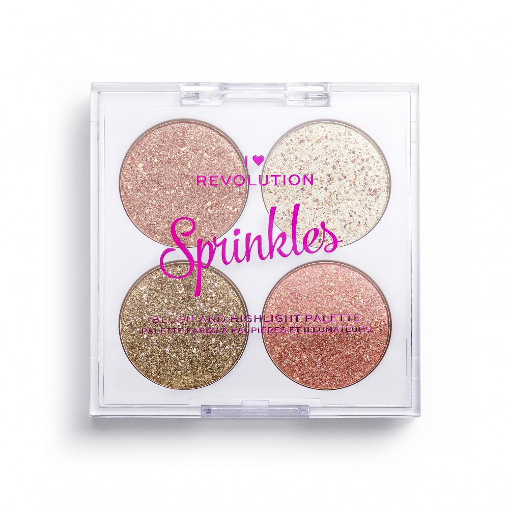 I Heart Revolution paleta pentru machiajul fetei - Blush & Sprinkles Blush And Highlight Palette - Confetti Cookie