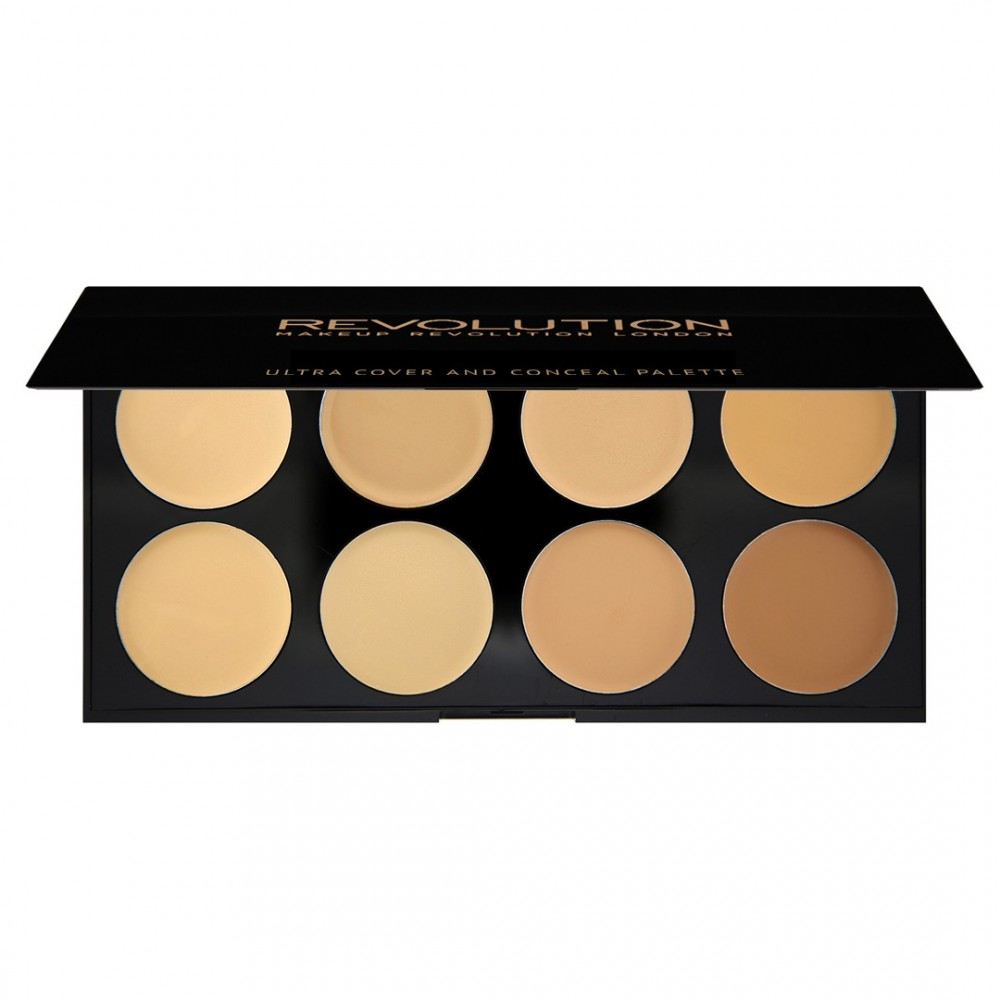 Makeup Revolution paleta korektorov - Ultra Cover and Conceal Palette - Light Medium Limited Edition