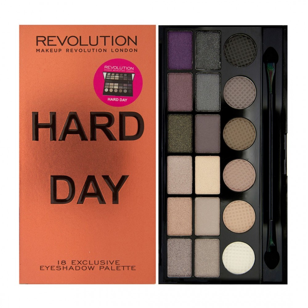 Makeup Revolution paleta očných tieňov - Hard Day Limited Edition