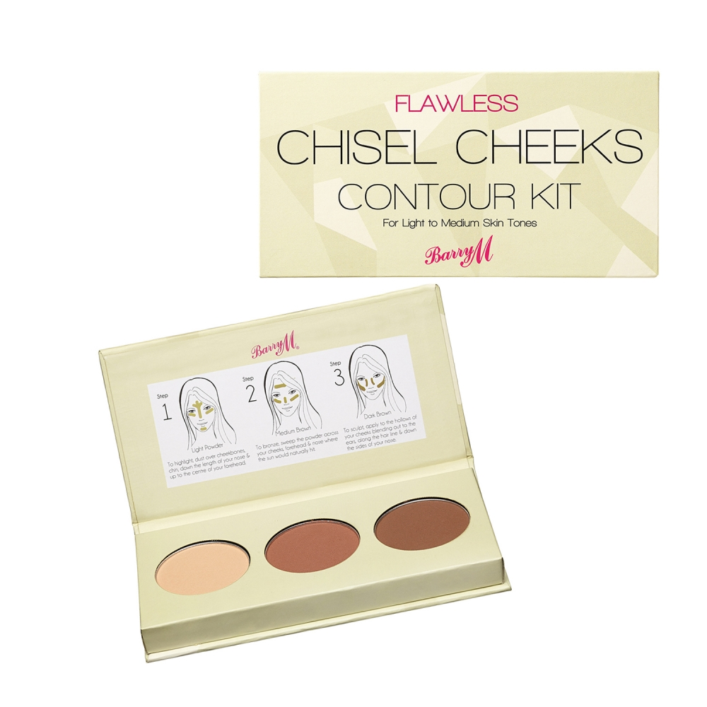 Barry M Chisel Cheeks Contour Kit kontúr paletta - Light Medium