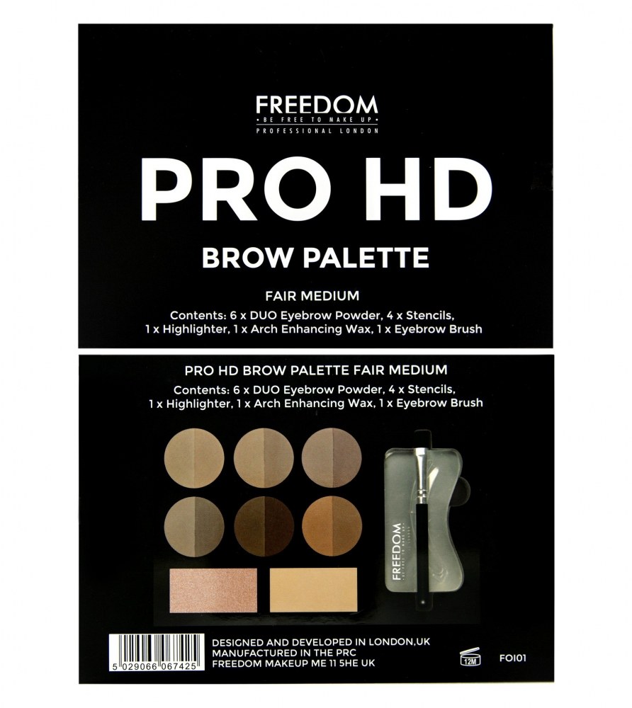 Freedom paletka na obočie - Pro HD Brow Palette - Fair Medium